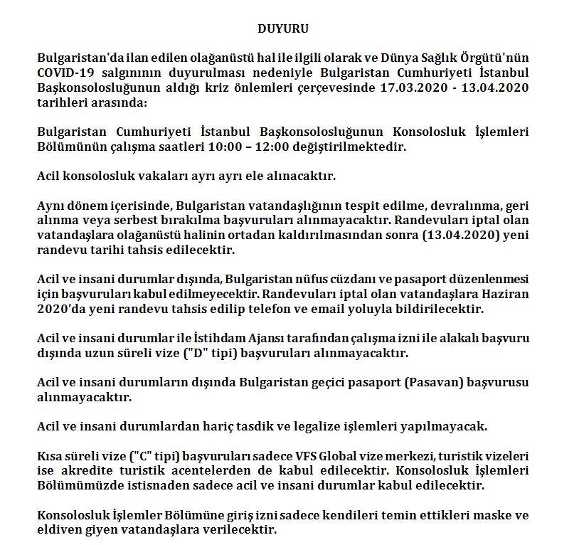 bg 1 Bulgaristan Hükümeti'nin Covid 19 Virüsü Salgını Bağlamında Almış Olduğu Olağanüstü Hal Kararı / Konsolosluk Hizmetlerimizde Alınan Tedbirler Duyuru